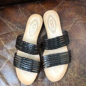 NWOB! Tod's brown leather 2 straps flat sandals 9
